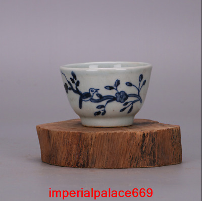 China antique Wanli Year Blue and white Flower Bird pattern cup h1673