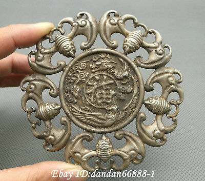 Collect Chinese old Miao silver carve dragon phoenix bat amulet lucky pendant  h