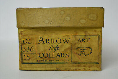 6 Antique NOS 1920s Arrow Detachable Removable Shirt Collars w. Box Art 15