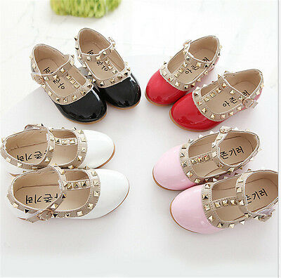 Sandals Rivet Buckle T-strap Flat Shoes for Toddler Princess Girls Kid TPI