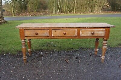 Very Attractive Original Victorian Solid Antique Pine Housekeepers Dresser Base