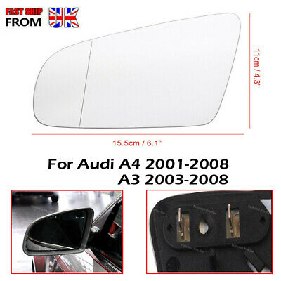 Audi A4 B6 B7 2000-2008 left side heated wing mirror glass /& plate 6LHPS