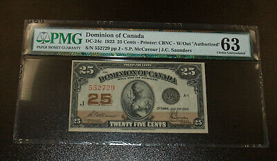 Dominion of Canada 25 Cents 1923 - PMG 63 Choice Uncirculated
