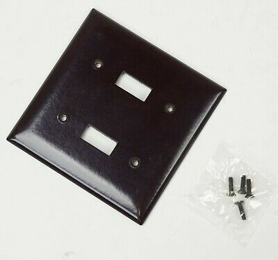 QTY:20 COOPER 2139B-BOX Two Gang Smooth Line Brown Bakelite Toggle Wall Plate