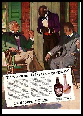 "1935 Paul Jones Whiskey Plantation Owners: ""Toby, Fetch The Keys"" Color Print Ad"