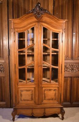 Antique French Louis XV Rococo Style Bookcase in Solid Walnut