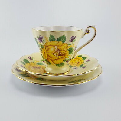 Vintage ROYAL STANDARD Yellow Flower Trio Tea Cup Saucer Side Plate Very Good Co