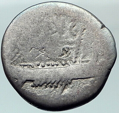 MARK ANTONY Cleopatra Lover 32BC Ancient Silver Roman Coin for LEGION i41978