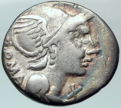 Roman Republic 109BC Rome Authentic Ancient Silver Coin Victory Chariot i42003