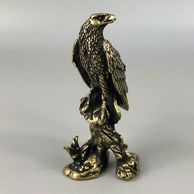 Chinese Old Antique Collectible Brass Handwork Tibet Plateau God Eagle Statue h1