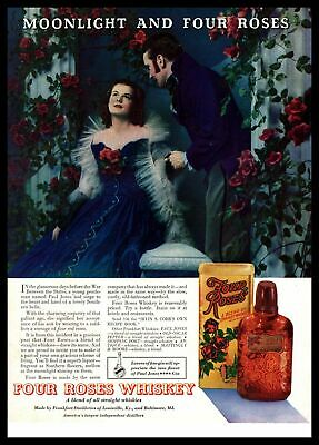 1935 Four Roses Whiskey Civil War Paul Jones Southern Belle Dress Color Print Ad