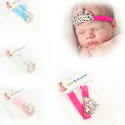 Kids Baby Toddler Princess Diamonds Hairband Head Wrap Pearl Crown Headband