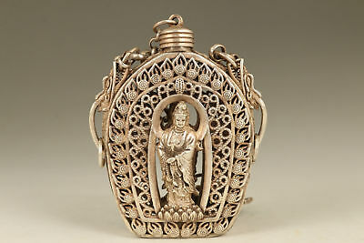 Buddha Old Copper plated silver Handmade Hollow out kwan-yin snuff bottle box h1