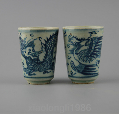 Chinese antiques, blue and white, dragon and Phoenix patterns, Kungfu tea cups h
