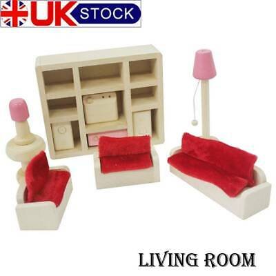 Kids Pink Wooden Furniture Dolls House Miniature Room Set Doll Toys For Gift DIY