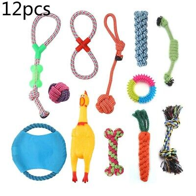 12pc DOG PUPPY TOY ROPE XMAS CHRISTMAS BUNDLE AND TEETH CLEANING COTTON ROPE TOY