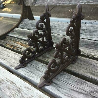 1Pair Vintage Antique Style Cast Iron Brackets Garden Brace Rustic Shelf Brown O