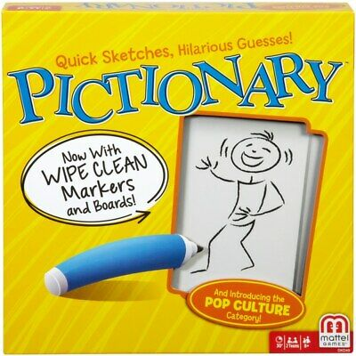 Pictionary Game Wipe Clean Markers Boards Guessing Kids Family Fun Party Games