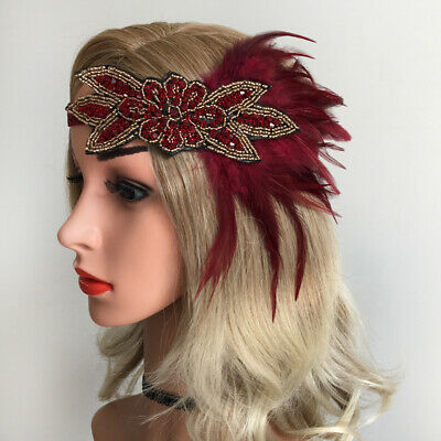 Beads Feather Headband Wedding Bridal 20s Fascinator Party  Headpiece