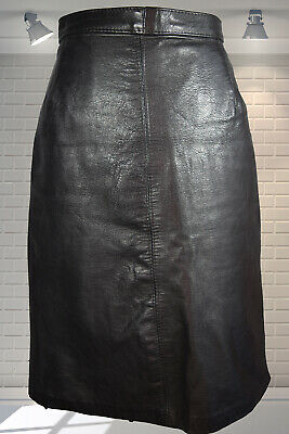 "Vintage 1980s Tight Fitting Wiggle Leather High Waist Black Mini Skirt  - 24"" W"