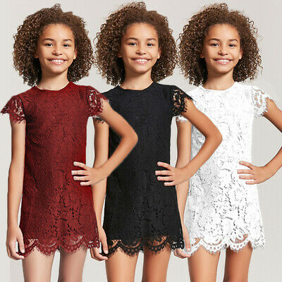 3-11Y Toddler Baby Girl Kids Lace Princess Floral Party Pageant Mini Tutu Dress