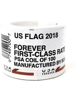 US Flag Forever Stamps Postage Genuine First Class 2017 or 2018 Roll Coil of 100
