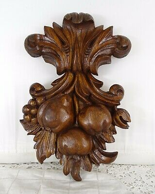 "13""  Antique French Hand Carved Oak Wood Fruit Decorative Element"