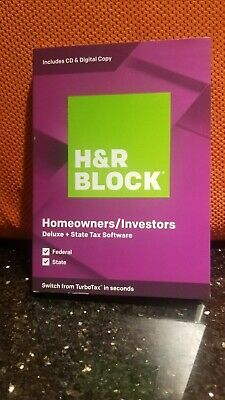 H&R Block Deluxe Tax Software + State 2019, PC, Mac, NEW, SEALED