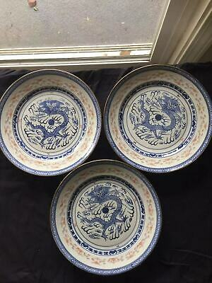 20C Chinese Antique Bule And White Three Dragon Pattern Plates Mark #3