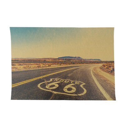 Route 66 Retro Kraft Paper Poster Tin Signs Wall Art Painting House Decor  J ue