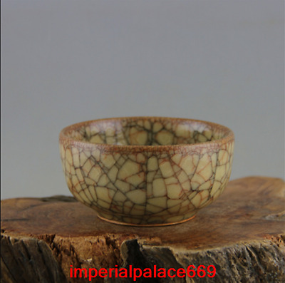 China antique Offcial kiln Golden silk Iron wire Ice cracked glaze Teacup w35