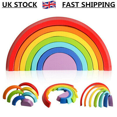 Baby Kids Rainbow Stacking Toy Montessori Puzzle Wooden Building Blocks Gifts UK