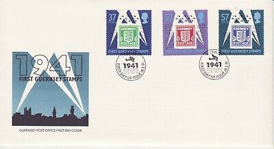 GB Stamps First Day Cover Guernsey 50th Anniv. First Guernsey Stamps, WWII 1991