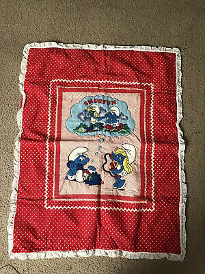 "Vintage Quilted Smurfs Baby Crib Blanket 32"" x 42"" Polka Dot Red Smurfette"