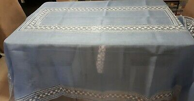 Beautiful Vintage Blue 8 Seater Italian Tablecloth Approx 258 Cms X 170 Cms