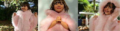 Baby Pink Kids Girls Faux Fur Hooded Winter Cape Coat Poncho Size M 5-7 Yrs New
