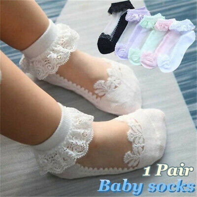 Soft Solid Color Lace Baby Socks Newborn Hosiery Kids Sock Toddler Girls Ankle