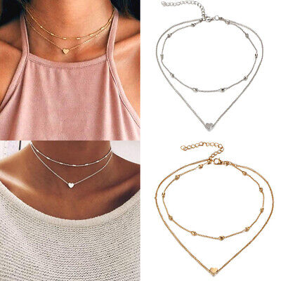 Necklace Double Layer Heart Chain Hot Multilayer Choker Pendant Gold Silver