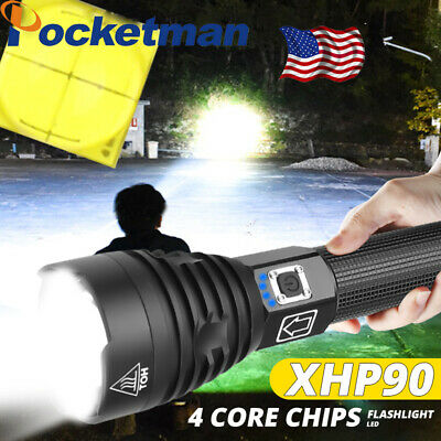 200000lm XHP90 LED Flashlight USB Rechargeable Torch 3 modes lamp 18650 26650