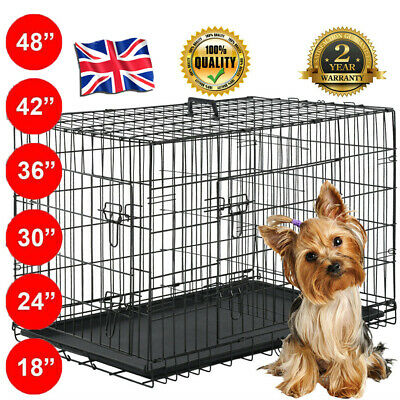 √Pet Cages Metal Dog Cat Puppy Training Folding Crate Animal Transport With Tray