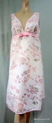 St MICHAEL M&S VINTAGE PALE PINK FLORAL POLYESTER/COTTON NIGHTIE NIGHTDRESS Med