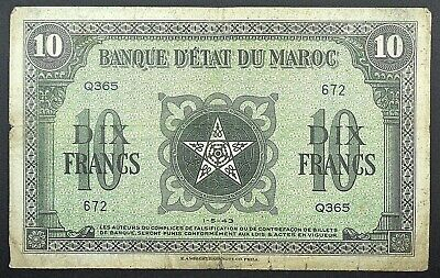 1943 French Morocco 10 Francs Banknote, P-25.