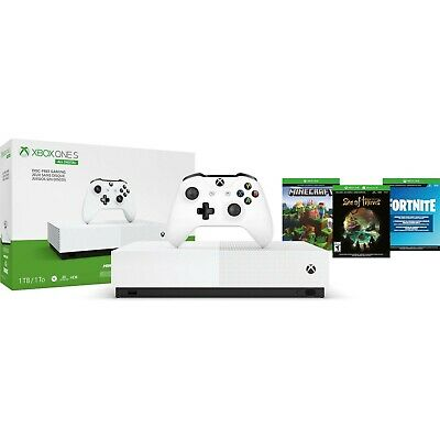 Microsoft Xbox One S All Digital Edition & 3 Game Console Bundle - White