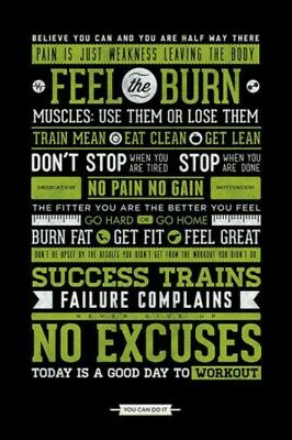 Motivational - Fitness Workout Muscles Burn Fat Poster Print (36x24in) #77071