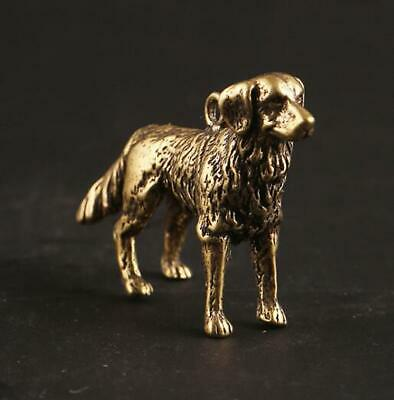 "1.6"" Collect Curio Chinese Bronze Zodiac Animal Lovable Small Dog Statue Pendant"