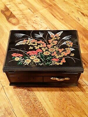 Vintage Plastic Music Jewelry Box with Decorative Top, Mirror,Inside Compartment