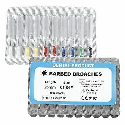 1 Pack Dental Barbed Broaches #1-6 Assorted  Endodontic Root Canal  File 25mm