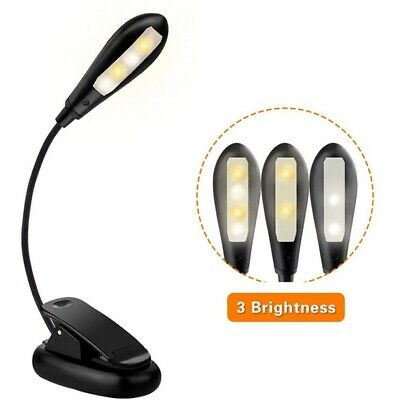 Flexible USB Rechargeable 4 LED Book Light 3 Modes (Warm & White LEDs) with Clip