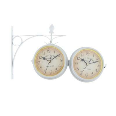 Double Sided Dual Clock Station Garden Outdoor Wall Mount Clock