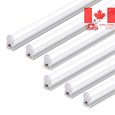 6 Pack Integrated LED T5 Single Fixture 4FT 22W 2200lm 5000K Linkable Utility...
